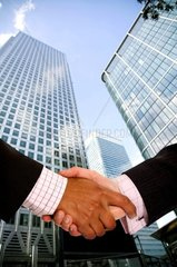 diverse business men shaking hands in a corporate environmentvertical