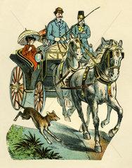 Kutsche  gezogen von zwei Pferden  Illustration  1887