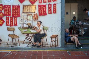 Singapur  Republik Singapur  Wandbild in Chinatown