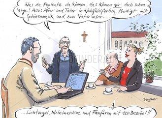 Pfarrer Besprechung mit Gemeindemitarbeitern