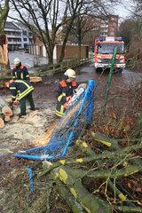 Flensburg  Deutschland  Feuerwehr raeumt nach dem Orkan Xaver auf