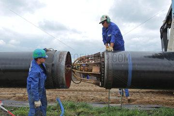 Klein Rheide  Deutschland  Bau einer Pipeline zwischen Ellund und Fockbek
