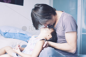 Father spending quality time with young daughter