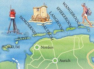 Ostfriesische Inseln _ illustrierte Landkarte