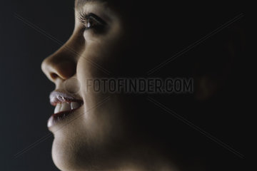 Young woman's face  profile  close-up
