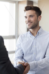 Client shaking hands with businessman