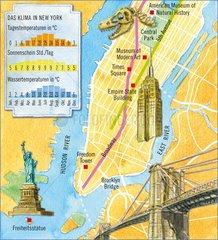 New York _ illustrierter Stadtplan mit Klimatabelle