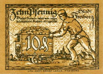 10 Pfennig Schein  Notgeld der Stadt Freiberg  1921