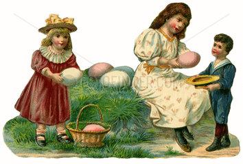Kinder suchen Ostereier  Poesiebild  1895