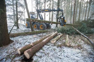 Neumuenster  Deutschland  Harvester des Herstellers Ponsse im Ernteeinsatz