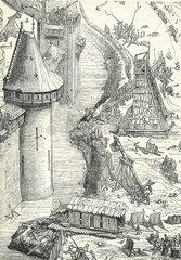 Belagerung im Mittelalter Holzstich