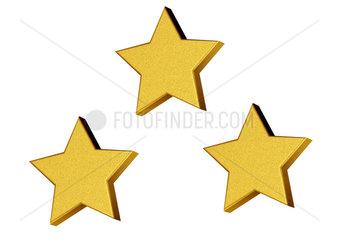3 Stars on white background