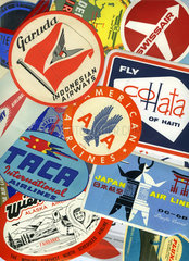 internationale Fluglinien  alte Kofferaufkleber  1958 bis 1974