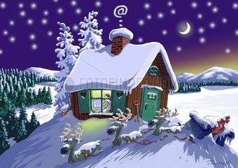 Der Weihnachtsmann ist eingeschneit