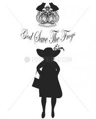 Queen mit Krone  Froeschen und Schriftzug