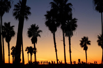 Los Angeles  USA  Sonnenuntergang an der Strandpromenade von Venice Beach