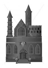 Burg castle fortress gotisch gothic grau grey