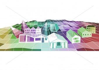 Stadt city village bunt color colour