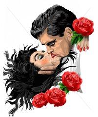 Liebespaar mit Rosen