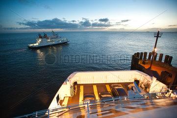 Wyk  Deutschland  Faehren am Hafen von Wyk auf der Insel Foehr