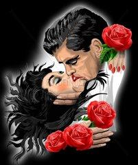Liebespaar mit Rosen 1
