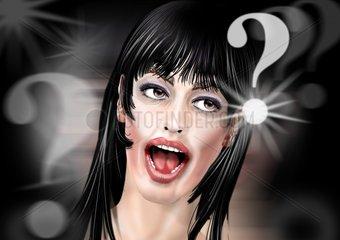 _berrascht Frau Fragezeichen