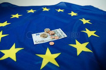 Hamburg  Deutschland  Euroschein und Euromuenzen auf einer Europafahne