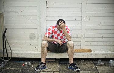 Kroatische Fussballfans in Rijeka  Kroatien
