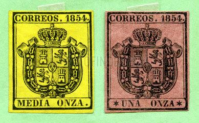 zwei sehr fruehe spanische Briefmarken  1854