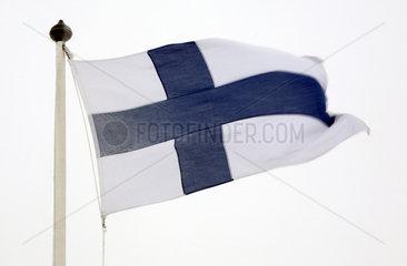 Malung  Schweden  Nationalfahne von Finnland weht im Wind