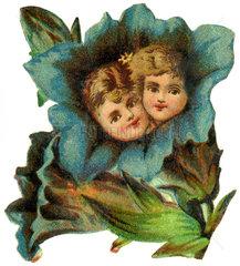 Blumen mit Kindern  Poesiebild  1895