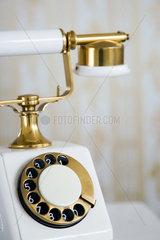 Berlin  Deutschland  antikes Telefon vor altmodischer Tapete