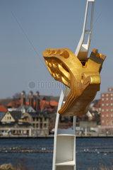Kappeln  Deutschland  ehemalige Gallionsfigur des Segelschulschiffs Gorch Fock