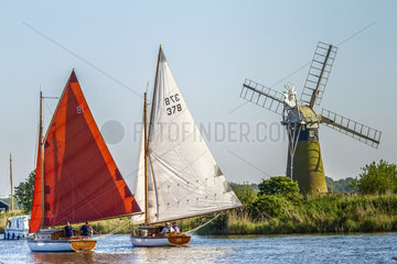 Sailing Boats On The Broads Norfolk UK