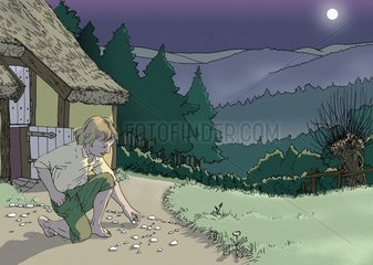 Haensel und Gretel - Haensel sammelt Kieselsteine