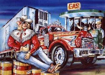 Trucker macht Pause mit seinem Truck