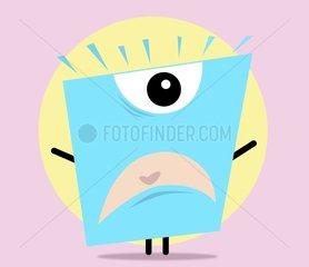 Ein wuetender blauer Charakter mit einem Auge schreit