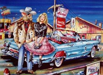 Cowboy mit Girl machen Pause