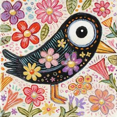 Ein schwarzer Vogel mit Fruehlingsblumen - Vogelserie
