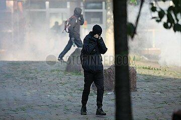 Vermummte Randalierer bei Anti-G20-Protest am 07.07.2017