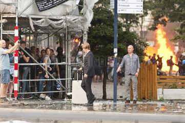 G20 Proteste am Schulterblatt im Schanzenviertel - Bushaltestelle