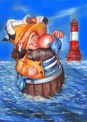 Fisherman mit Leuchtturm