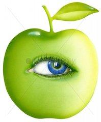 Natuerliches Leben Serie gruener Apfel 3