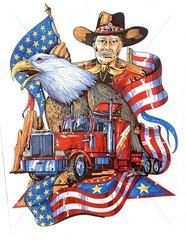 Trucker mit Adler und Fahne