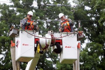 Handewitt  Deutschland  Arbeiten am Stromnetz
