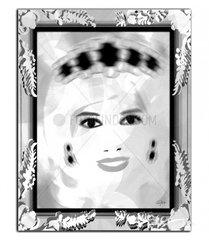 Diana Prinzessin von Wales  Graustufen  mit Rahmen