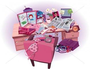 Frauenchaos auf dem Schreibtisch