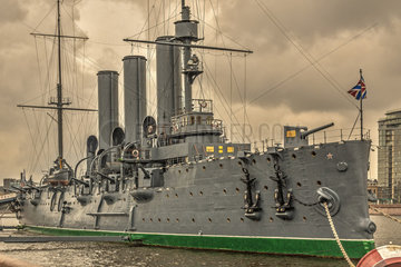 Cruiser Aurora Tied Up At The Naval Academy  St. Petersburg Russia
