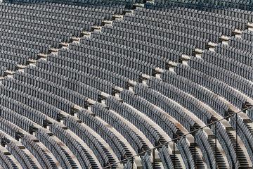 Berlin  Deutschland  Klappstuhlreihen im Olympiastadion