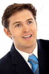 Friendly business man portraitisolated over a white background